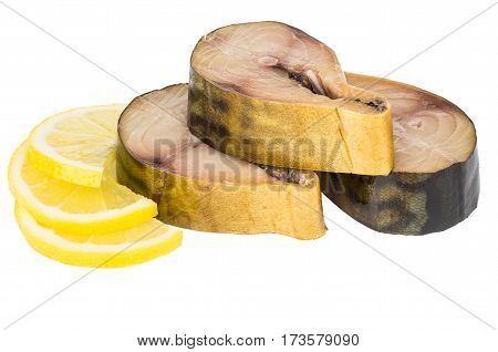 Pieces Of Mackerel And Slices Of Lemon On White