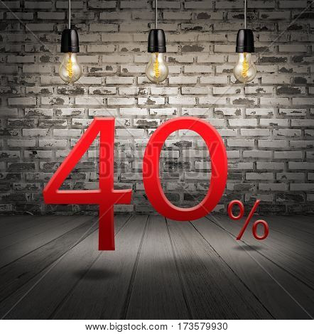 Discount 40 Percent Off With Text Special Offer Your Discount In Interior With White Brick Wall And