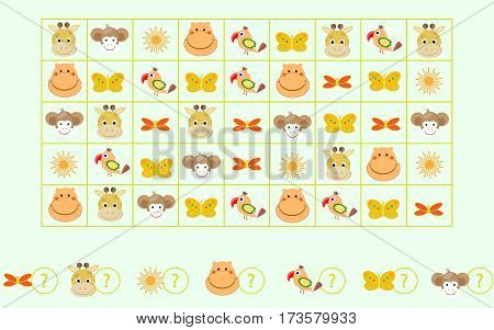 children's game a puzzle Count animals vector illustration