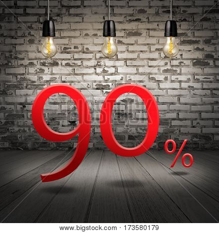 Discount 90 Percent Off With Text Special Offer Your Discount In Interior With White Brick Wall And