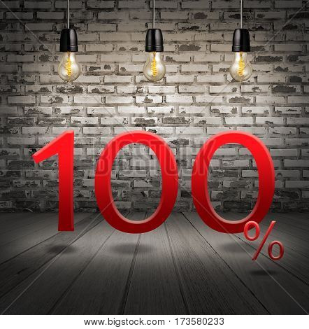 Discount 100 Percent Off With Text Special Offer Your Discount In Interior With White Brick Wall And