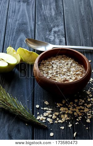 Cuisine interior with cereal. Black background and textures