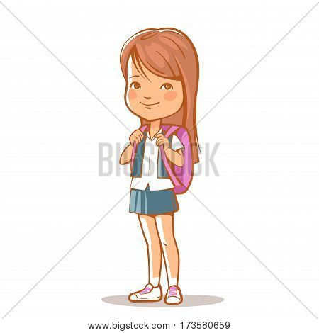 Portrait of pretty teenage girl. Schoolgirl with long brown hair with satchel bag. School uniform, skirt, blouse. Daughter. Sister standing. Vector illustration isolated.