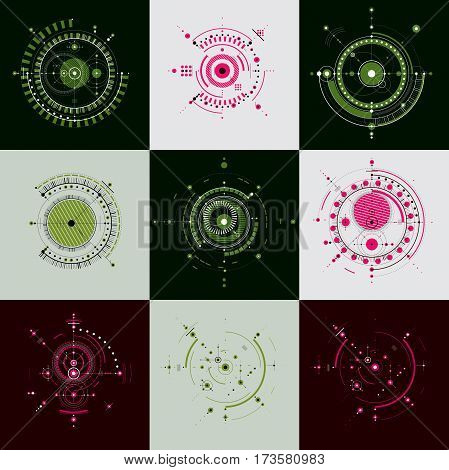 Set of vector abstract backgrounds created in Bauhaus retro style. Modern geometric composition can be used as templates and layouts. Engineering technology