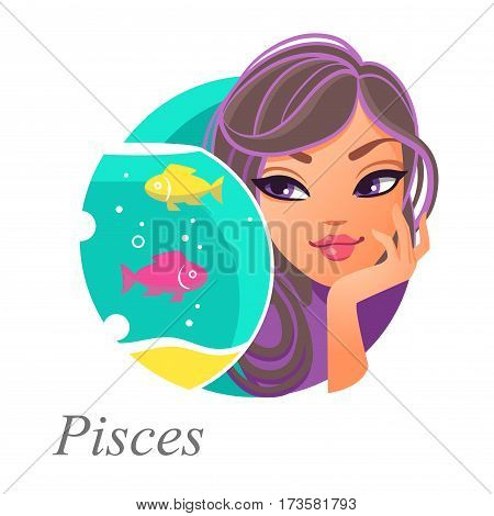 Beautiful woman as Pisces zodiac sign. Astrological symbol