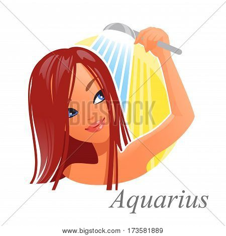 Beautiful woman as Aquarius zodiac sign. Astrological symbol