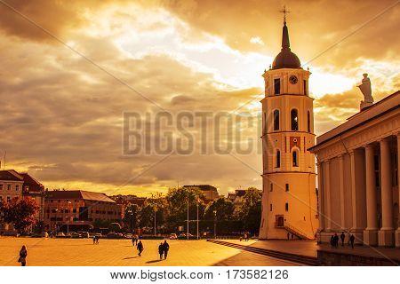 Gediminas Square in the evening. Lithuania. Vilnius