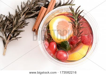 hot cranberry tea with lemon and vitamins top view