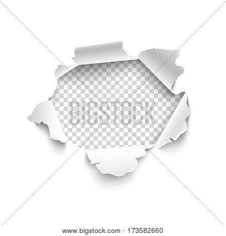 Hole in white paper. Vector illustration. Vector torn paper for scrapbook web and print.