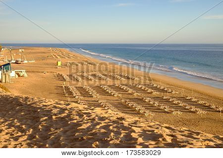 View on the beach Playa del Matorral on the sunset. Morro Jable Canary Island Fuerteventura Spain - 14.04.2017.