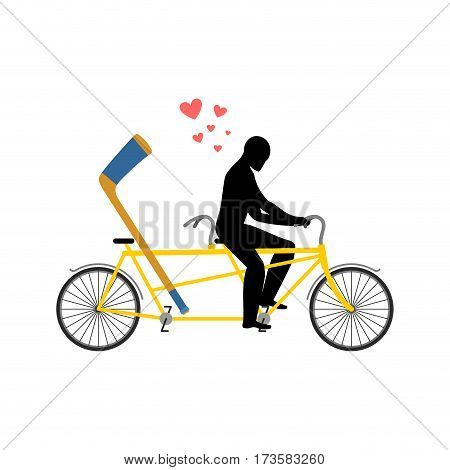 Lover Hockey. Hockey-stick On Bicycle. Lovers Of Cycling. Man Rolls Tandem Bike. Joint Walk On Stree