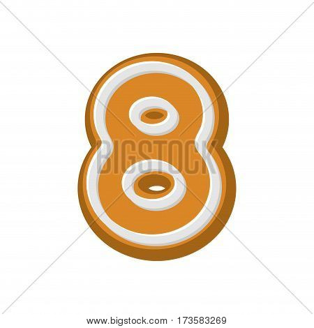 Number 8 Gingerbread Font. Peppermint Honey-cake Abc Eight. Cookies Alphabet. Lettering Biscuit