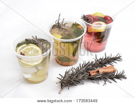 three hot and healthy fruit tea to warm winter. healthy drink abstract