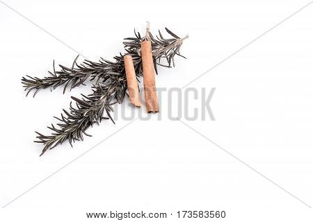 sprig of rosemary and two cinnamon sticks on white background