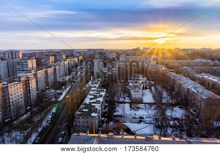 Top view from roof at Voronezh cityscape sunset, hdr photo, city, buildings at dramatic sky background, copy space