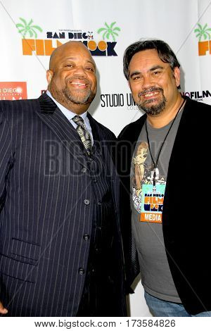 Mark Christopher Lawrence and David S. Dawson at the 2017 San Diego Film Week Closing Reception and Film Awards at T-Short Galleries in San Diego, CA on Feb. 25, 2017.
