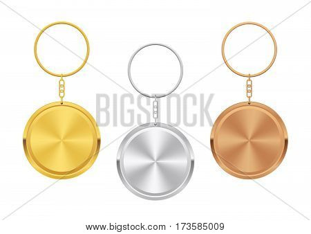 Metal Trinket. Realistic Keychain Template. Set of Golden Silver and Bronze Circle Shape. Vector stock illustration.
