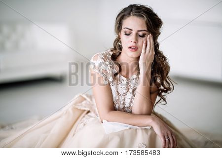 Portrait Of The Bride Crying, Sadness, Streaks Mascara Wipes.
