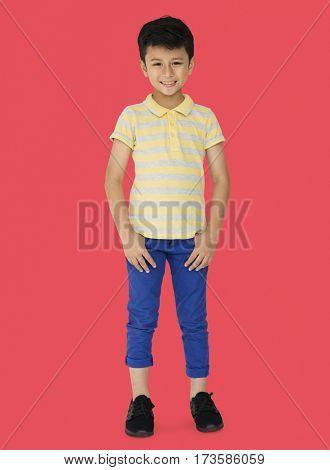 A Caucasian Boy Standing Smiling Background Studio Portrait