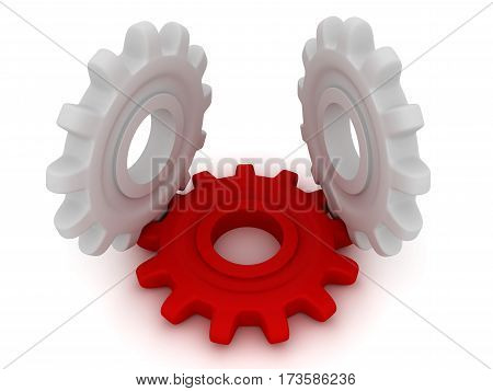 Technical solution. Two white gears lie and one gear stand. This is a 3D rendered picture.