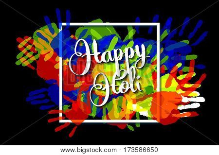 Happy Holi On A Background Of Hand Prints