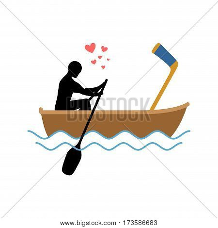 Lover Hockey. Guy And Hockey Stick Ride In Boat. Lovers Of Sailing. Romantic Date. Love Sport Play G