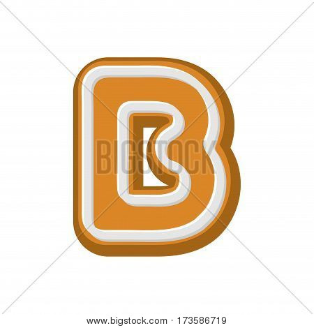 Letter B Gingerbread. Peppermint Honey-cake Font. Cookies Alphabet. Lettering Biscuit