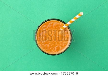 A glass of healthy fresh carrot smoothie
