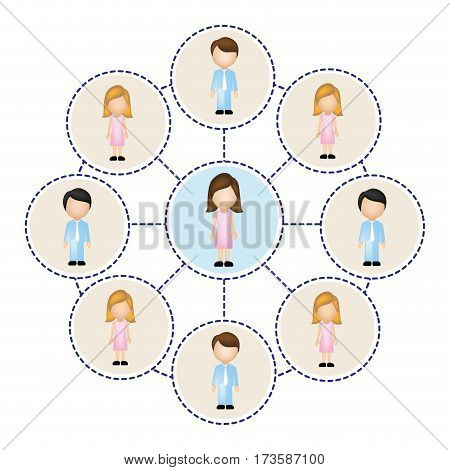 color circle schematic with faceless working groups vector illustration