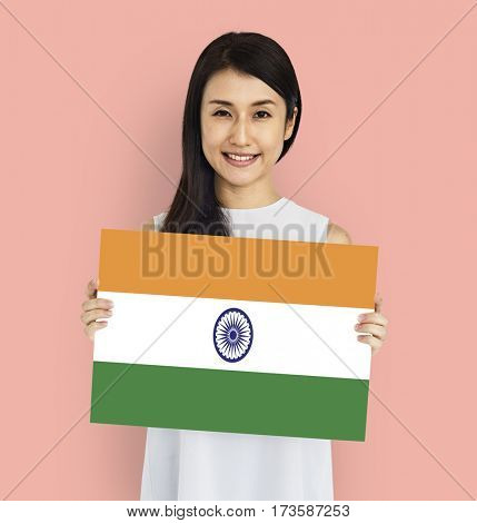 Woman Hands Hold Indian Flag Patriotism