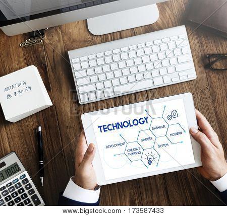 Technology data system hexagon graphic