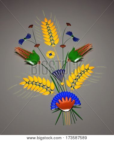 Ikebana. Floristic composition. Bouquet of wildflowers. Illustration on a gray background