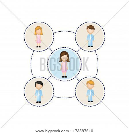 color schematic with faceless working groups vector illustration