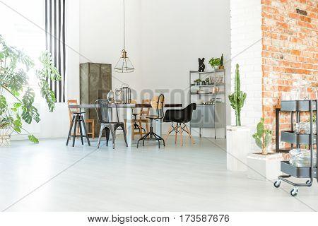Bright Loft With Brick Wall