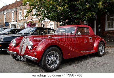 AMERSHAM, UK - SEPTEMBER 13: A classic Royal Sabre sportscar is parked on the side of the highway as a static display at the Amersham Heritage Day festival on September 13, 2015 in Amersham.