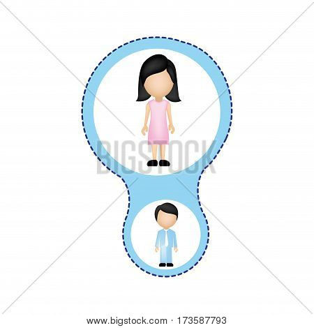color schematic with mom and son faceless vector illustration