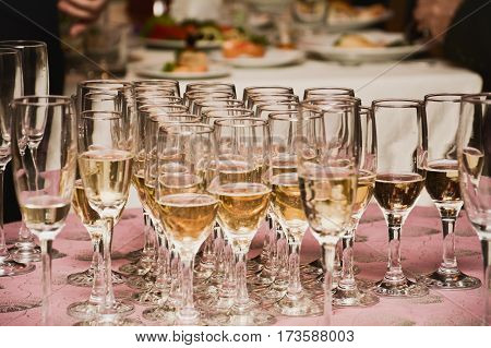 champagne glasses on a banquet close up