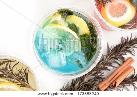 Blue Cocktail with fresh lemon and mint, healthy food abstract