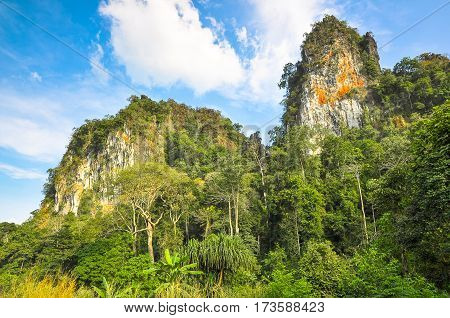 Rocks surrounded by tropical jungle in Thailand