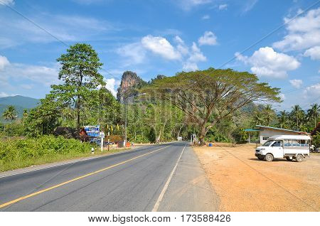 Road through the rainforest of Khao Sok Park Thailand.