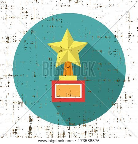 trophy star winner award vector illustration with screen texture
