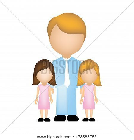 color silhouette with father and daughters faceless vector illustration
