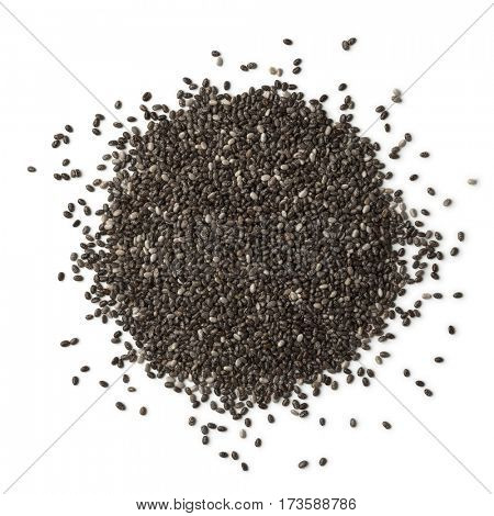 Heap of chia seeds on white background