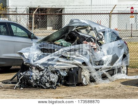 Horizontal shot of the Remains of a Fatal Automobile Accident.