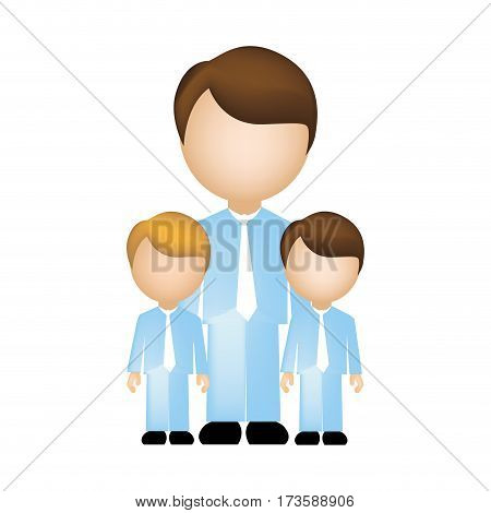 color silhouette with father and son in suit and faceless vector illustration