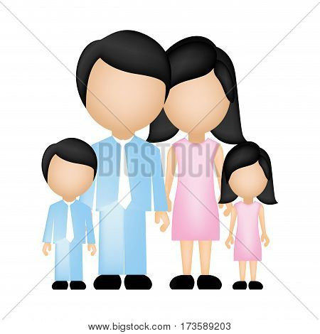 color silhouette faceless family in formal clothes with son and daughter vector illustration
