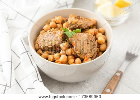 Chickpeas With Meat With Vegetables And Greens