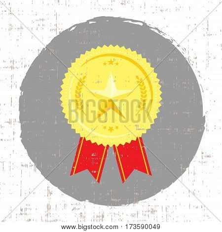 Winner medal with golden star icon with screen texture vector