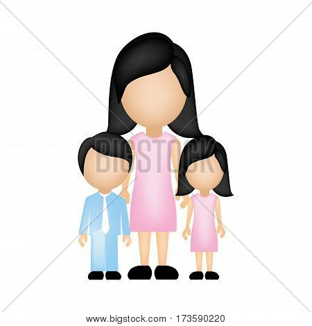 color silhouette faceless with mother daughter and son in formal clothes vector illustration