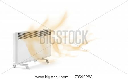 Electric convection heater emitting hot air, 3D illustration